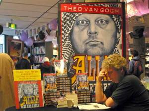 Murdered anti-Muslim Dutch filmmaker Theo Van Gogh at a signing for his Book 'Allah Knows Best'